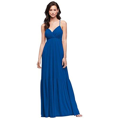 David's Bridal Surplice Mesh Bridesmaid Dress with Peasant Skirt Style F19771, Horizon, 12