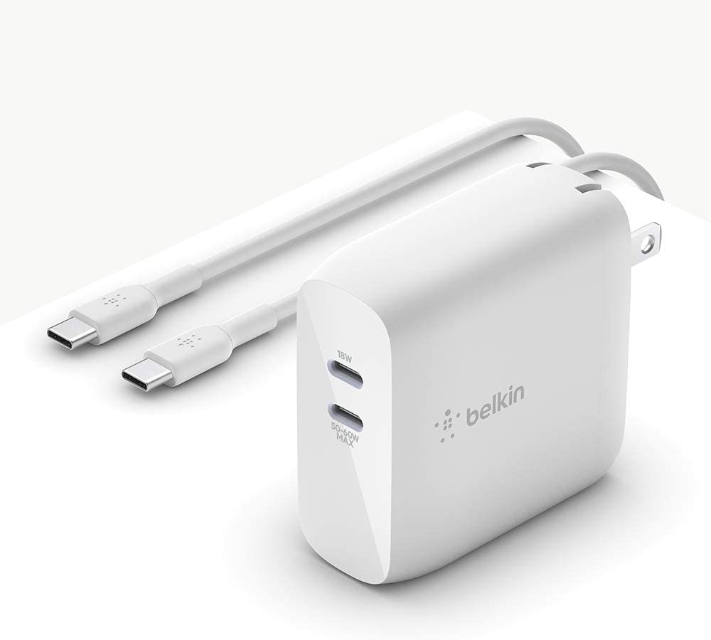 Belkin USB-PD GaN Charger 68W (USB-C iPhone Fast Charger, MacBook Pro Charger, iPad Pro, Pixel, Galaxy, More), USB-C Power Delivery with 2M (6.6ft) PVC USB-C to USB-C Charging Cable