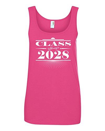Tenacitee Women's Art Deco Class of 2028 Tank Top, Medium, Hot Pink ()