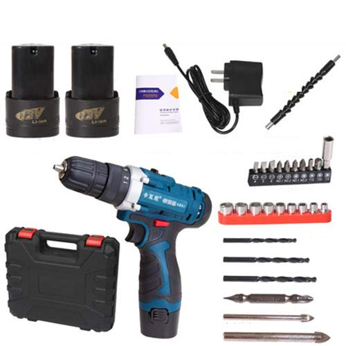 FLB 12V-25v Cordless Drill Charging Screwdriver Home Electric Rechargeable Multi-Function Flashlight Drill,12v2batteryaccessories