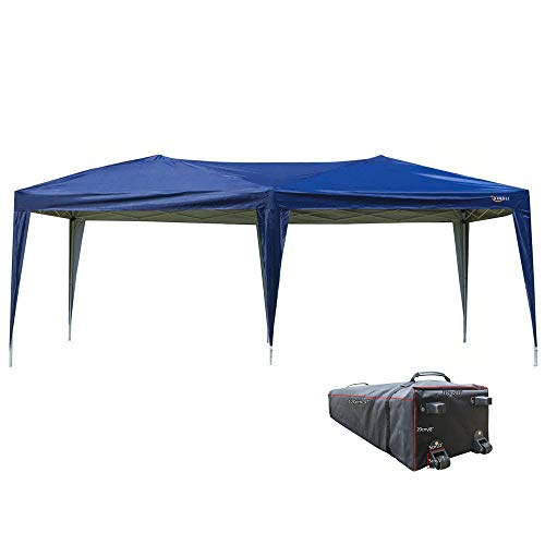 VINGLI 10'x20' EZ Pop Up Canopy Tent,Folding Instant Wedding Party Commercial Gazebo W/Rolling Carrying Case Bag, Blue