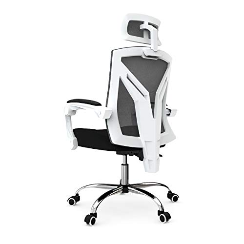 Hbada Ergonomic Office Chair - High-Back Desk Chair Racing Style with Lumbar Support - Height Adjustable Seat,Headrest- Breathable Mesh Back - Soft Foam Seat Cushion, White