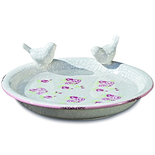 WHW Whole House Worlds Wild Sweetheart Rose Garden Bird Bath, Crackle Glazed Ceramic, White, with Pink and Green Details, Worn Terracotta Patches, 9 ¾ Diameter x 3 ¼ Inches Tall, Shabby Chintz