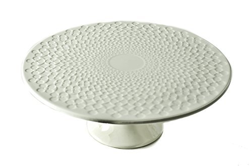 (Classic Coffee & Tea Clover Leaf Footed Cake Platter, 20cm, White)