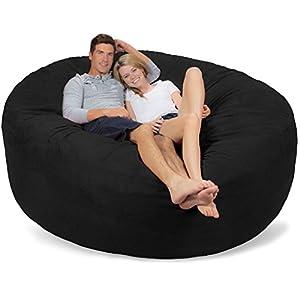 Comfy Sacks 7 ft Memory Foam Bean Bag Chair, Black Micro Suede