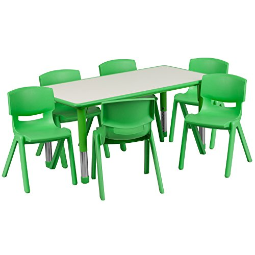 Flash Furniture 23.625''W x 47.25''L Rectangular Green Plastic Height Adjustable Activity Table Set with 6 Chairs ()