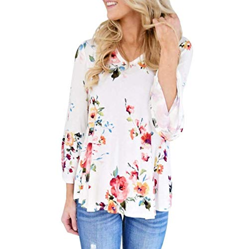 Blouse Casual Smalltile Hauts Jumpers Flare Printemps Imprim et Blanc T Automne Sleeve Pretty Fashion Shirts Femmes Tops r1HXRzWqwH