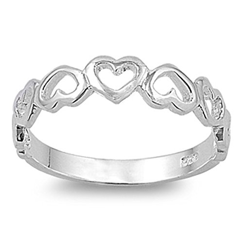 Prime Jewelry Collection Sterling Silver Women's Cutout Heart Ring (Sizes 3-12) (Ring Size 11)