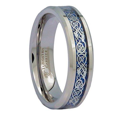 MJ Metals Jewelry Custom Engraving 6mm Blue Celtic Dragon Tungsten Carbide Ring Wedding Band Sz 6.5