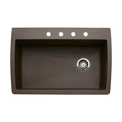 Blanco 440192-4 Diamond 4-Hole Single-Basin Drop-In or Undermount Granite Kitchen Sink, Cafe Brown (Brown Granite Kitchen Sinks)