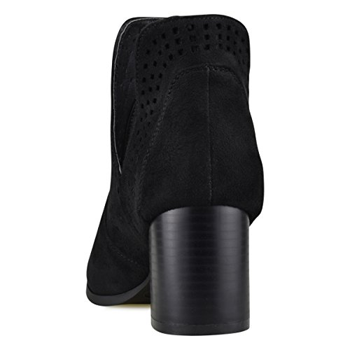 Pull Perforated Out Heeled Heel Bootie Standard Premier Women's Shoe Cut Women's Black Mid On Boot Faux Leather qwTzIE