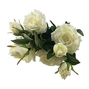 Beautiful Bunch Of 5 Real Touch Artificial Flower Lifelike Rose Bouquet For Wedding Bridal Party Home Decoration (White) 90
