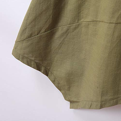 Alangbudu Women's Half Sleeve Tunic Dress V Neck Loose Swing Shift Linen Dresses Green by Alangbudu-Dresses (Image #6)