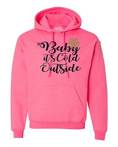 Baby It's Cold Outside Christmas Winter Womens Hoodie Dark Pink X Large