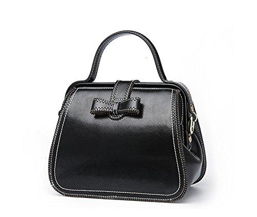 Mujer Xinmaoyuan Bolsos Bolso de verano moda retro hebilla bloqueo viento Cowhide Multi-Color Portable solo hombro bolsa bandolera Doctor Pack,negro negro