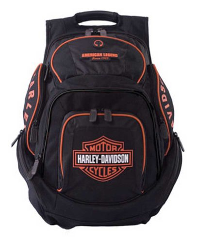 Harley-Davidson Mens Deluxe Backpack BP1900S-ORGBLK