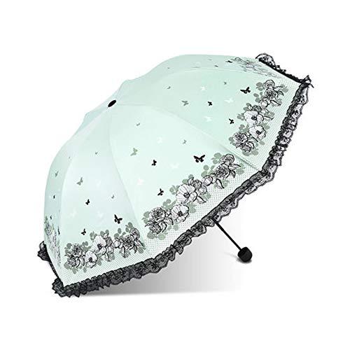(LJQHS Parasol Black Plastic Sunscreen Anti-UV Folding lace Edging rain and rain Dual-use Sun Umbrella Female Black Plastic Sunscreen Parasol lace Edging-LightGreen)
