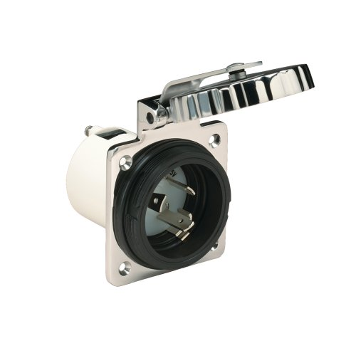 Marinco 30 Amp 125V Inlets, Round, Stainless Steel ()
