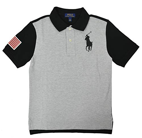 Polo Ralph Lauren Boys Big Kids Big Pony USA Polo Shirt Grey Black (Large - Kids Clothes Ralph Lauren