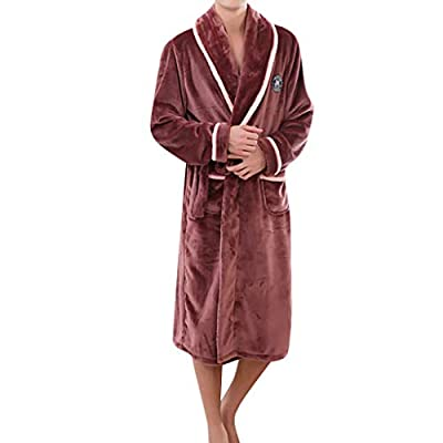 general3 Men Plush Fleece Robe Kimono Bathrobe Soft Shawl Long Sleeve Robe Collar Warm Gown Sleepwear Dressing