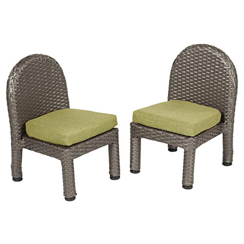 Toddler Wicker - ECR4Kids Petite Patio 10in Chair Set with Fast-Dry Cushions - All-Weather Plastic Wicker Kids Outdoor Furniture, Olive (2-Pack)
