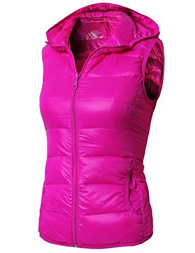 H2H Womens Active Premium Down Hoodie Parka Vest (Woven) Hotpink US L/Asia L (Pink Down Vest)