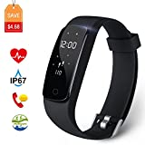 Fitness Tracker Aneken Activity Tracker with Heart Rate Monitor IP67 Bluetooth Smart Bracelet with Sleep Monitor Smart Watch for Android iOS Smartphone, Black