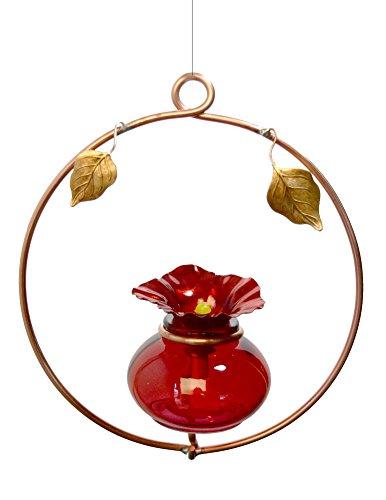 Copper Hoop Hummingbird Charmer, American Made Copper and Glass Hummingbird Feeder