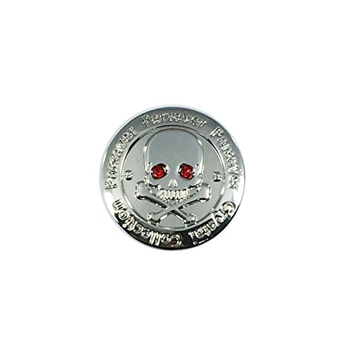 Swarovski Crystal Golf Ball Marker - with Hat Belt Clip - Skull and Bones Red Eyes - Unmatched Brilliance and Sparkle on the greens (Red) (Hunter Blade Iron Set)