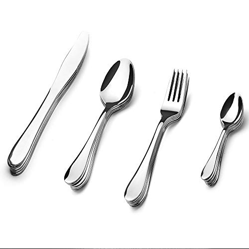 (Pretigo 24 Pieces Flatware Sets Silverware Sets, Stainless Steel Cutlery Sets Mirror Polished Tableware Sets,Gift Box Package Utensil Sets Include Knives/Forks/Spoons for Kitchen, Service for 6)