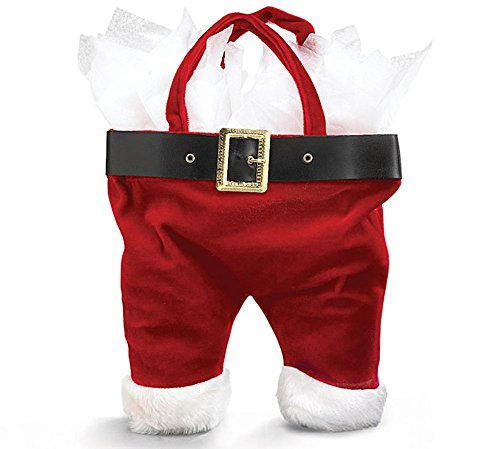 Santa Wine Bottle Holder - Santa Pants Wine Bottle Holiday  Tote Bag.
