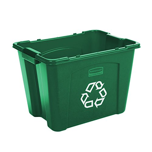 Rubbermaid Commercial Products FG571473GRN Stackable Recycling Box, 14 gal, Green (Recycle Storage)
