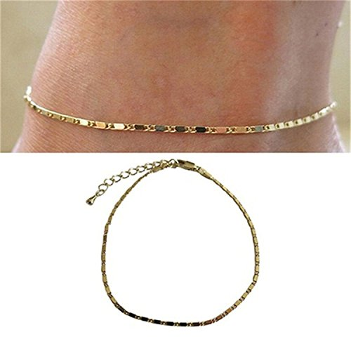 NiceWave Fashion Women Simple Gold Silver Chain Anklet Ankle Bracelet Beach Foot Jewelry