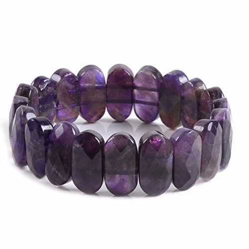 Natural Faceted Amethyst Gemstone 20mm Oval Beads Stretch Bracelet 7