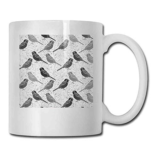 - Grey Ceramic Cup Floral Flower Buds Leaves Pattern English Country Style Victorian Lace Image Print Made of Ceramic Grey White 11oz