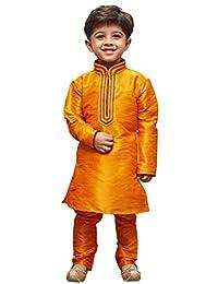 VASTRAMAY JBN Creation Boys' Orange Cotton Silk Kurta Pyjama Set(VASBKOR012nPOR)