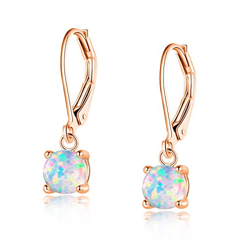 Leverback Earrings Dangle 18K Rose Gold Plated 6mm Round White Opal Birthstone Women