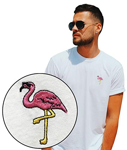 Embroidered Large T-shirt White - Riot Society Flamingo Embroidered Men's T-Shirt - White, Small