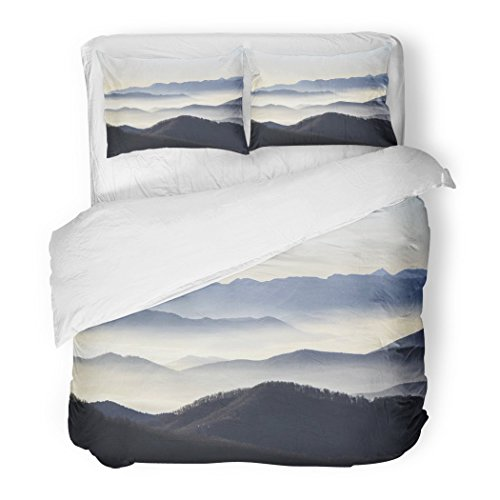SanChic Duvet Cover Set Landscape My Blue Mountains Fog Nature Spain Beautiful Cordillera Decorative Bedding Set 2 Pillow Shams King Size by SanChic
