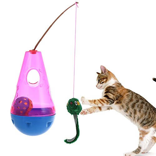 Keebgyy Cat Toy, Automated Activity Toy Automatic Spinning Cat Toy Ball Tumbler Interactive Cat Feather Toy/Mice Animal Toys/Feather Toys