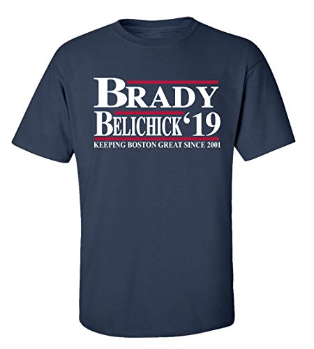 Patriots Brady Belichick '19 Making Boston Great Since 2001 Adult Short Sleeve T-Shirt-Navy-Large