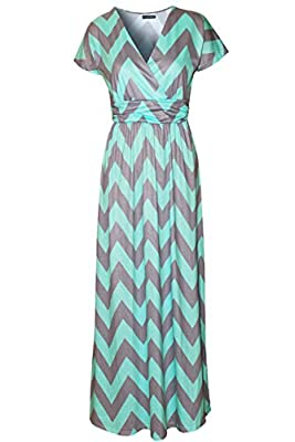 Kranda Womens Striped V neck Empire Waist Chevron Maxi Long Dress