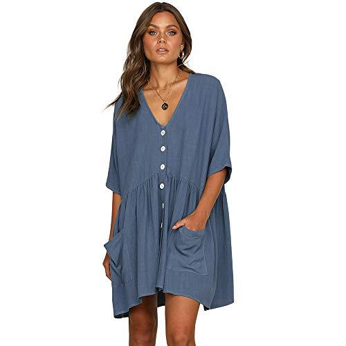 Scioltoo Women's Loose V-Neck Half Sleeve Pleated Knee Elastic Waist Dress Blue L