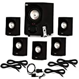Acoustic Audio AA5171 Home 5.1 Bluetooth Speaker System with Optical Input and 5 Extension Cables