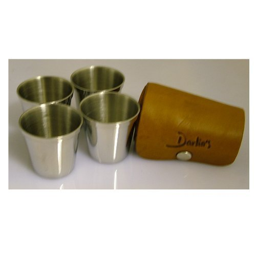 Thepresentstore-4 Polished Chrome Effect Cups In Tan Leather Carry Case