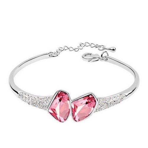 Alvdis Fashion Jewelry Stones Style Alloy Swarovski Crystal Pendant Bracelet, 6.7