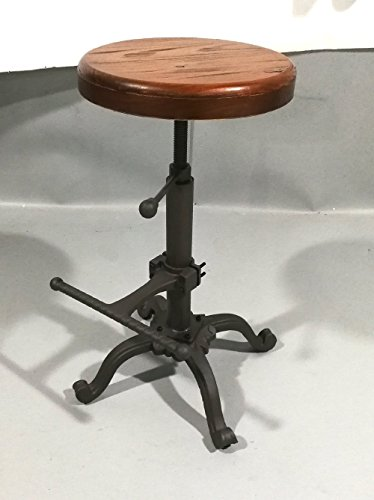 Topower Industrial retro vintage farm wooden tractor stool kitchen swivel height adjustable bar chair Industrial Drafting Stool