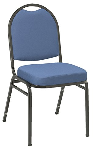 (KFI Seating IM520 Armless Stacking Chair, Commercial Grade, 2-Inch, Blue Fabric/Black Frame)