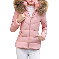 Misaky Women's Fur Coats Casual Winter Thick Outerwear Hooded Short Slim Cotton-Padded Jackets