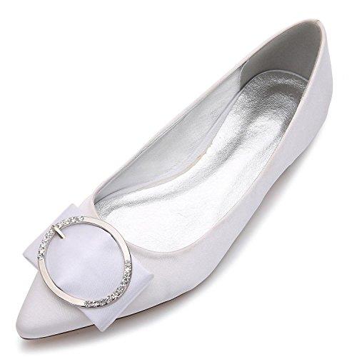L@YC Frauen Spitze E-5047-27 Hochzeit Schuhe flache grundlegende Pumpe elastische Satin Metall geschlossene Zehe nach Maß große Größe Schuhe White